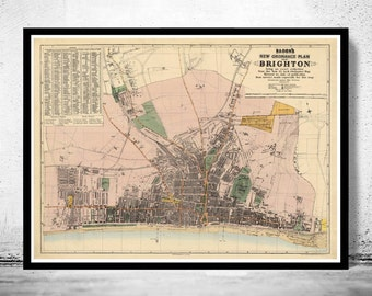 Old Brighton Map 1890, England United Kingdom