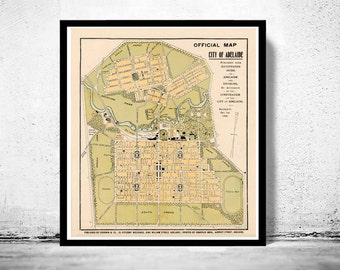 Vintage Map of Adelaide City , Australia Oceania 1906