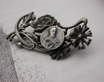 French antique 19th century  silver art nouveau flower St Jean Francois brooch gothic antique medal