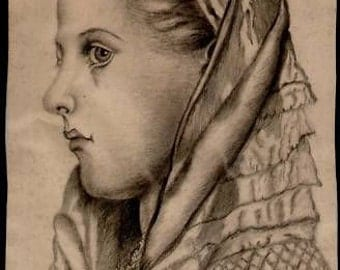 French antique 19th century 1890s Original art pencil drawing signed Louise Bosc 370mm 17.6inches