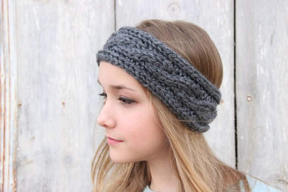 Chunky Cable Knit Headband Pattern : Headband Cable Knit Knitted Headband Winter by SerbyStitches