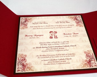 bilingual english and vietnamese tradition wedding invitations suite with rsvp card - Vietnamese Wedding Invitation