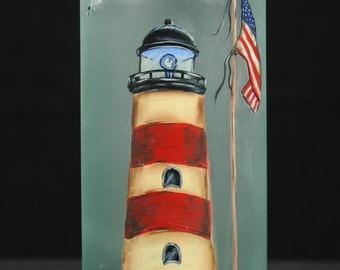 1.5 Ltr. Hand Painted Lighted Wine Bottle/Lamp/ Lighthouse with Seagull and Flag