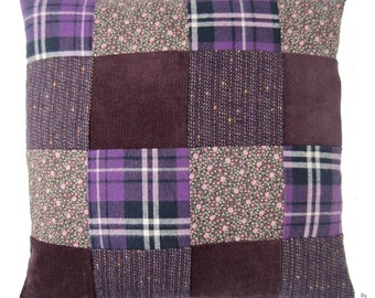 Patchwork cushion cover purple l set of two