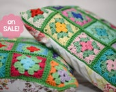 Crochet pillow Colorful Granny Squares Cotton Yarn and Cotton Fabric FREE SHIPPING