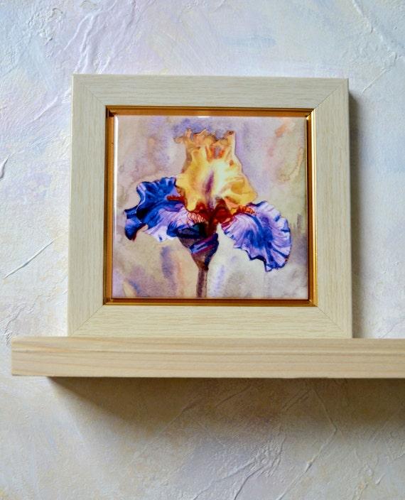 Iris Watercolor Hand Painted Ceramic Tile Wall Art Iris