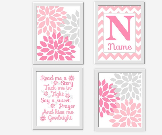 Name In Lights Wall Decor : Pink Gray Nursery Wall Art Pink Gray by DezignerheartDesigns