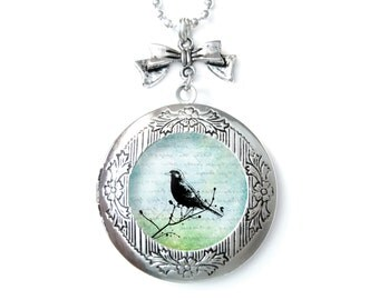 Bird Photo locket pendant