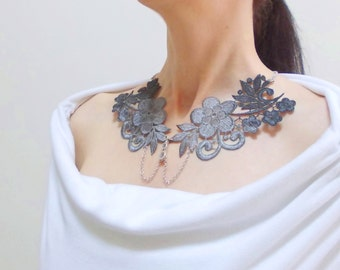 Black to Grey Lace Peter Pan Collar Necklace, Handpainted Floral Collar Necklace, Vintage Style, Preppy, Detachable