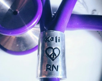 Stethoscope ID Ring,Wide Hammered, Nurse, rn, Doctor, md, Respiratory therapist, rt, Veterinarian, vet tech, rvt, EMT, Paramedic, aprn, crna