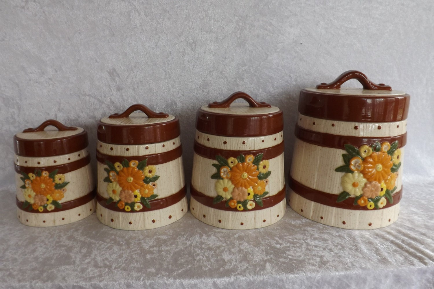 four piece barrel and floral canister set by jcattictreasures