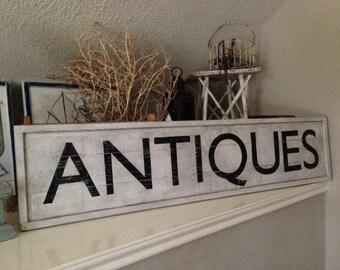 Rustic ANTIQUES wooden sign - farmhouse decor, antiques store sign