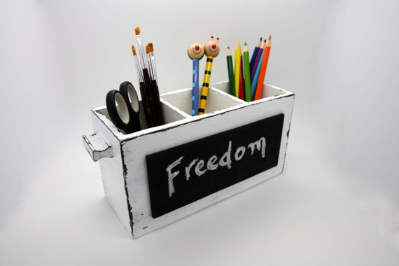 Black and white desk organizer shabby pencil holder with - Desk organizer white ...