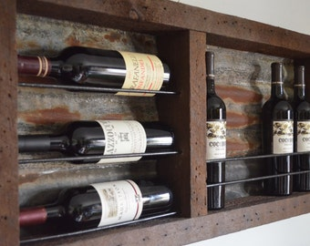 Reclaimed barnwood wine rack - with rusted Tin barn roof, holds approximately 8 wine bottles
