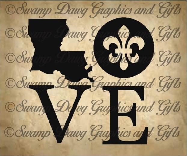 Louisiana Love Cut File Svg Silhouette Cricut Vinyl Fleur