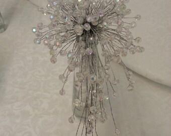 HALF PRICE Aurora Borealis beaded teardrop cascade bridal bouquet