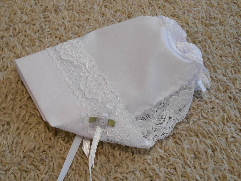 Baby Hankie Bonnet Wedding Handkerchief With Shiny Detail