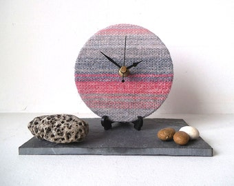 Wool Desk Clock - Pink and Grey Woven Wool Round Desk Clock - Unique Clock