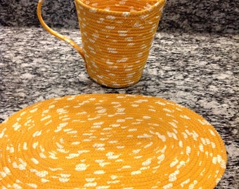 Fabric Pitcher and Table Topper - Mustard Colored