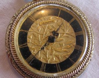 "Retro J.B. Hudson Watch Pendant 24"" Necklace, Black & Gold, Roman Numerals, Watch is Running!"