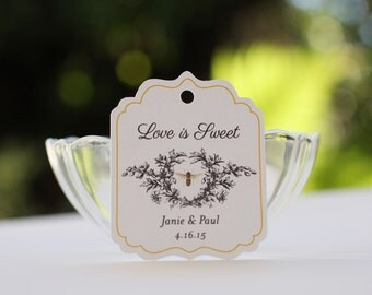 Honey Labels, Wedding Favor Tags, Personalized Gift Tags with Vintage Honey Bee, Love is Sweet, Meant to Bee - Set of 20