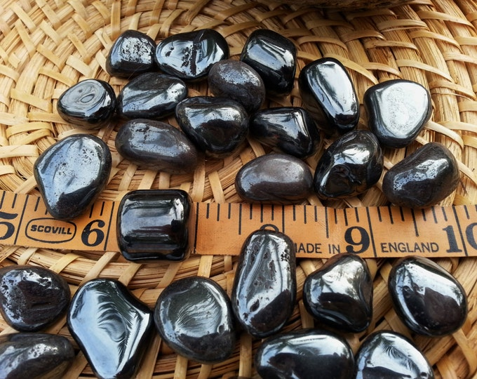 Hematite ~ 1 medium Reiki infused tumbled crystal