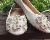 Wedding Shoe Flat, Shoe Bridal Wedding Shoe, Rhinestone Appliqué Shoe