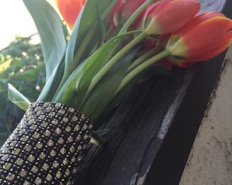 Bridal Bouquet Wrap,Wedding Bouquet Wrap,Rhinestone Crystal Bridal Wrap,Black,Gold and Silver