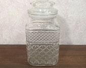 """Large Wexford Diamond Cut Candy Jar with Tight Seal Lid 9"""" tall X 4-3/4"""" Square"""
