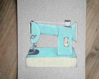 Retro Sewing Machine, original drawing