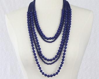 Multi Strand Statement Necklace Navy Blue Multi Layered Necklace Beads Long Necklace Dark Blue Statement Necklace