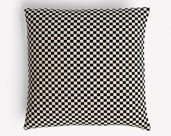 "Checker by Alexander Girard 1965 - Black/White - Maharam - Mid-century Modern design accent pillow 17"" x 17"" feather/down insert included"
