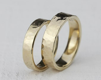 Gold hammered wedding ring set 14k gold hammered wedding ring set