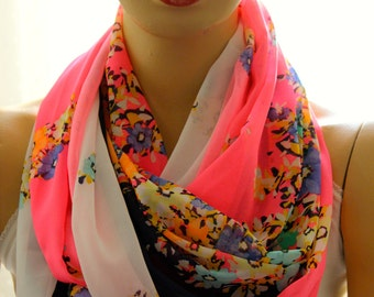 Neon Flowers scarf Fashion infinity scarf  Loop scarf Circle scarf Women Scarf Gift Scarves Accesories Scarves Wraps Shawl Neon scarf Neon