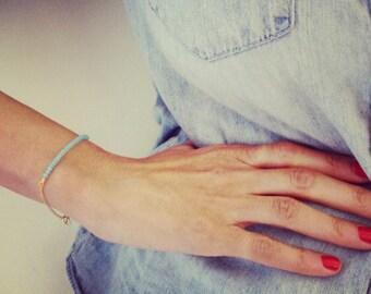 Aquamarine& Gold Bracelet, Swarovski Crystals, Casual aquamarine And Gold Bracelet, Bead Bracelet, Gift Bracelet