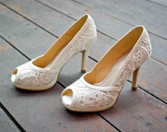 Custom Made Wedding Shoe in White Cord Lace, White Lace Wedding Shoes, White Bridal Shoes, Bespoke Wedding Shoes, Custom Made Wedding Heels