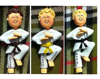 Personalized Male Karate Taekwondo -Karate/Martial Arts Cake Stand/Magnet/Ornament - Customize Belt Color, Hair Color & Skin Tone