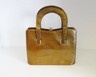 Vintage Leather Bag Bronze Patent Leather Handbag By Meadows of Regent Street 1960s