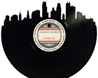 Minneapolis Skyline Records Redone Label Vinyl Record Wall Art - Unique Gift - Birthday Holiday Christmas Wedding