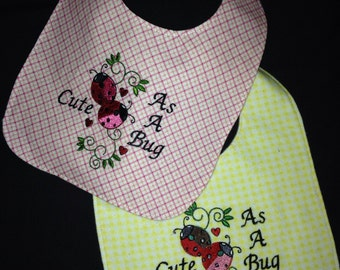 REVERSIBLE, Cute As A Bug Baby Bib, Adorable, Sweet, Handmade, Embroidered Baby Bib with Ladybug Embroidey Design