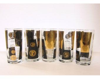 Vintage Cera Houze Gold Black US Dollar Coin Glasses - Set of 5