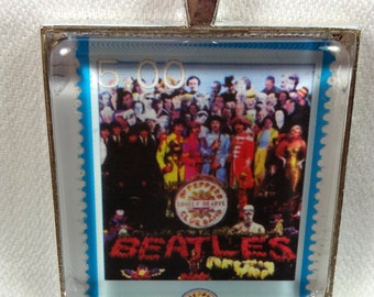 Sgt. Pepper's Lonely Hearts Club Band Beatles Album Cover UK Fab Four John Paul George Ringo Vintage Postage Stamp Pendant or Key Ring