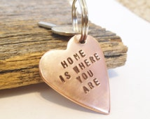 Home is Where You Are Keychain New Homeowner Stamped Key Chain Military Deployment Wife Personalized Heart Statement Keyring Long Distance