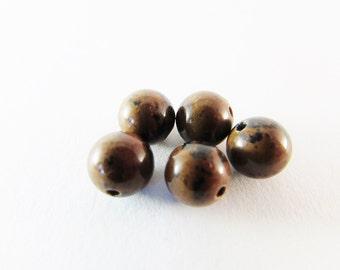 D-01671 - 10 Mahogany obsidian beads 8mm