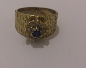 vintage sterling silver and sapphire ring