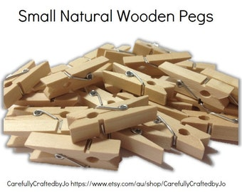 25, 50, 100, 150 Small Wooden Pegs - Natural
