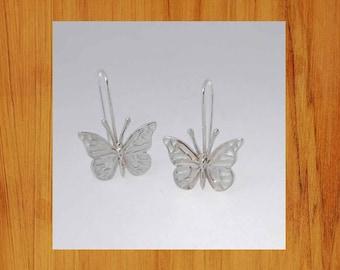 Butterfly earrings, hooks, Sterling silver, handmade,