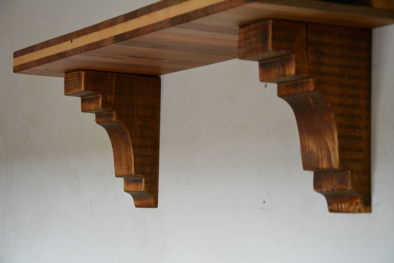 Wood Shelf Brackets ~ Wood shelf bracket corbels wooden by uniquewoodartwork