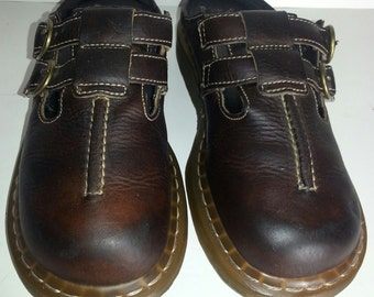 Dr. Martens 3A23 Women Brown Leather Clogs Size 7 US