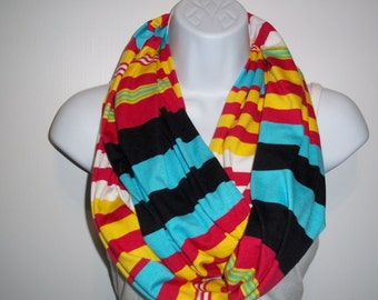 Mexican Scarf, Infinity, Jersey Scarves, Boho Shawl, Loops multicolored infinity Jersey scarf cotton scrf